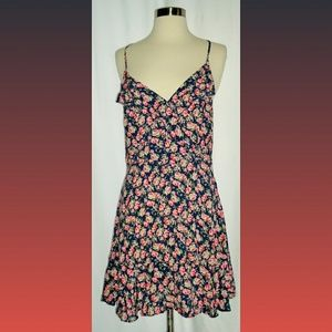 American Eagle Ruffle Lace Up Floral Mini Dress M